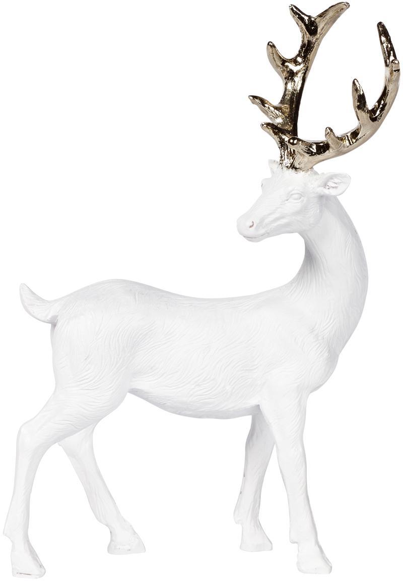 Handgefertigtes Deko-Objekt Deer, Polyresin, Weiß, Goldfarben, 9 x 14 cm