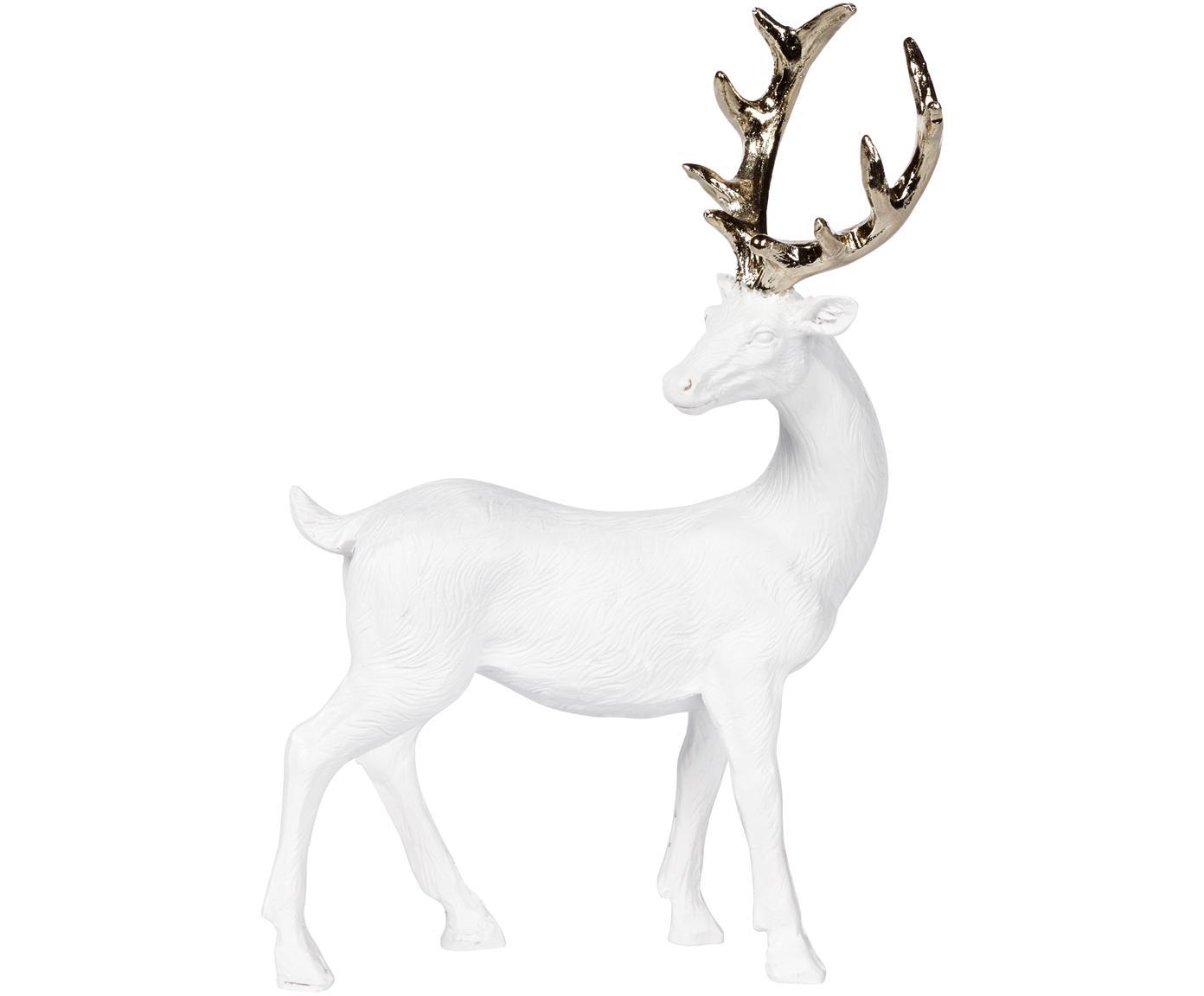 Handgefertigtes Deko-Objekt Deer, Polyresin, Weiss, Goldfarben, 9 x 14 cm