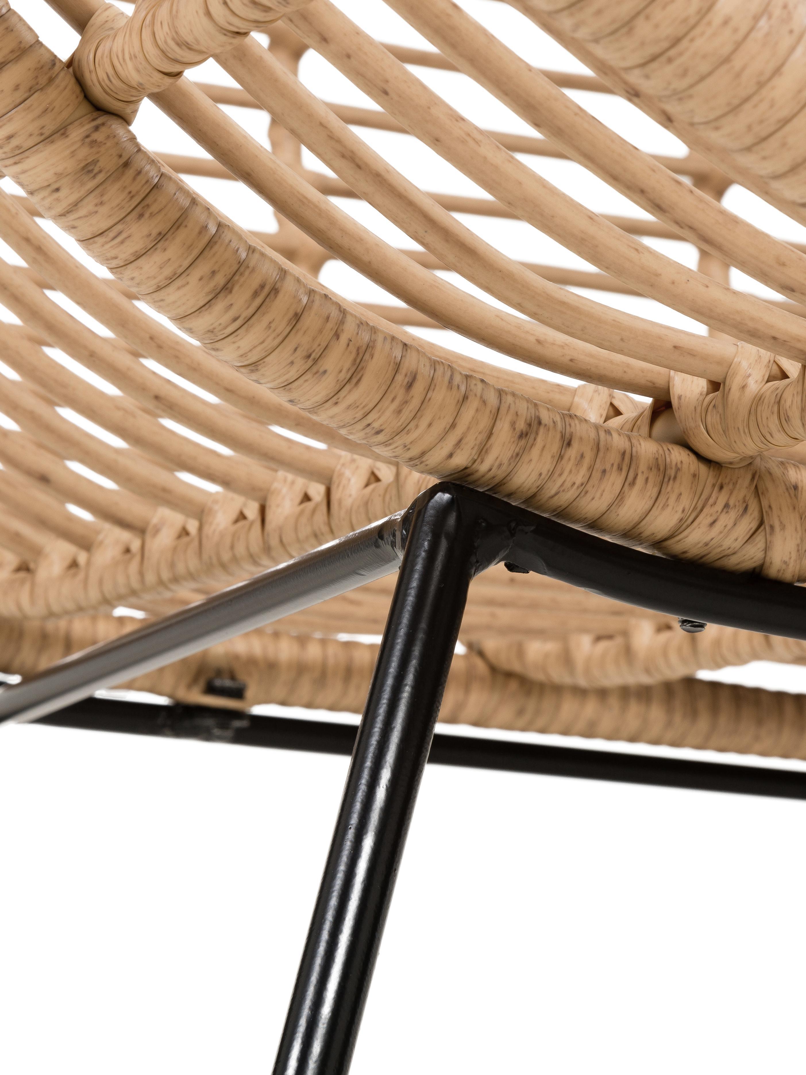 Ohrensessel Costa mit Polyrattan, Sitzfläche: Polyethylen-Geflecht, Gestell: Metall, pulverbeschichtet, Hellbraun, B 90 x T 89 cm