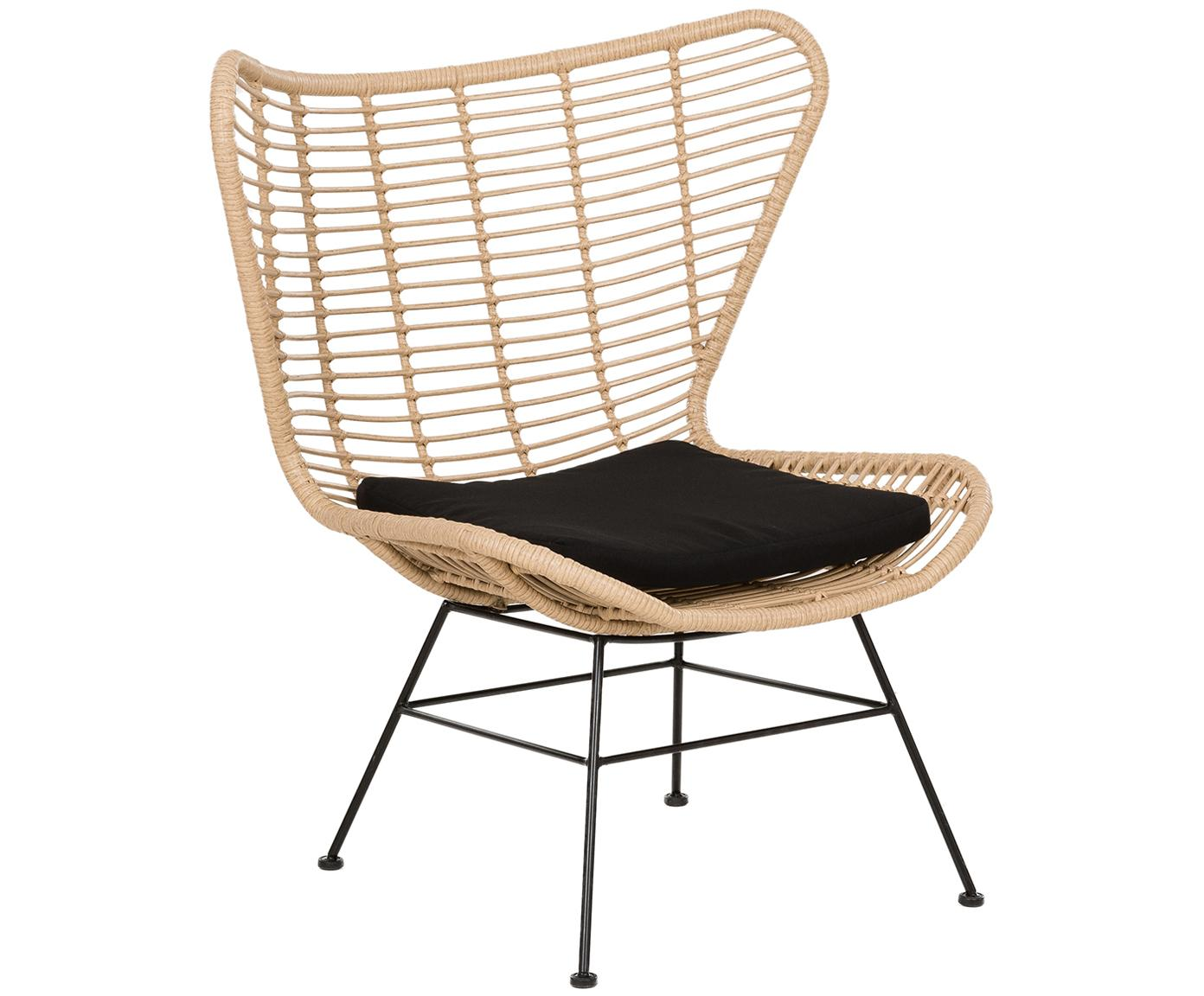 Fotel wypoczynkowy z polirattanu Costa, Stelaż: metal malowany proszkowo, Jasny brązowy, S 90 x G 89 cm