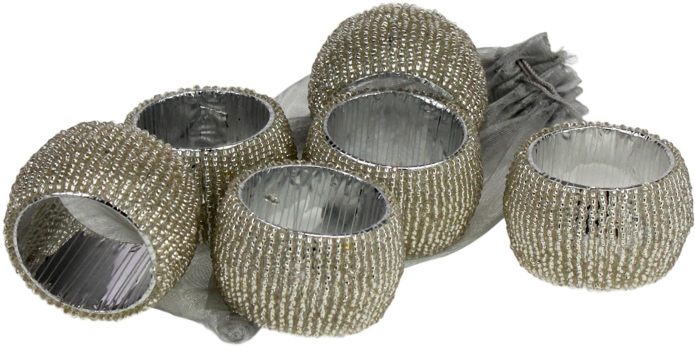 Obrączka na serwetkę Perla, 6szt., Odcienie srebrnego, Ø 5 x W 3 cm