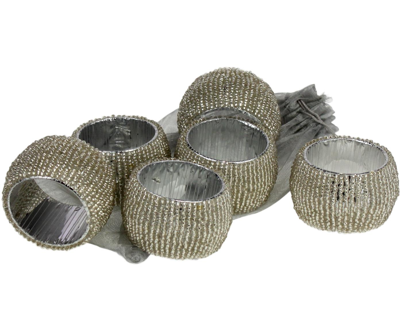 Serviettenringe Perla, 6 Stück, Silberfarben, Ø 5 x H 3 cm