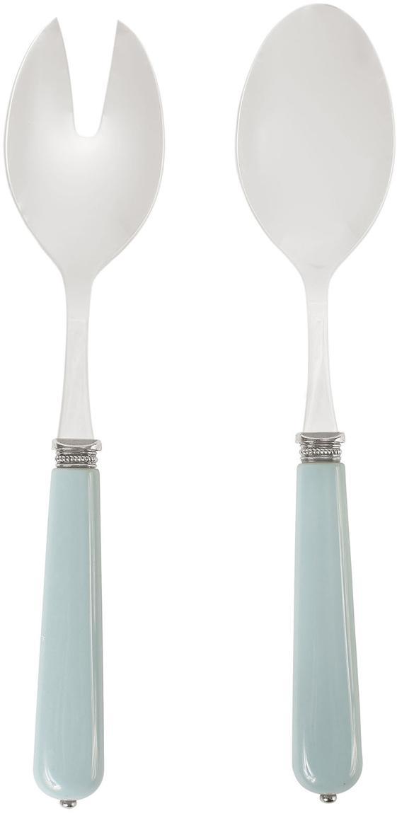 Saladebestek Lucie met lichtblauw handvat, 2-delig, Edelstaal, kunststof, Staalkleurig, blauw, L 24