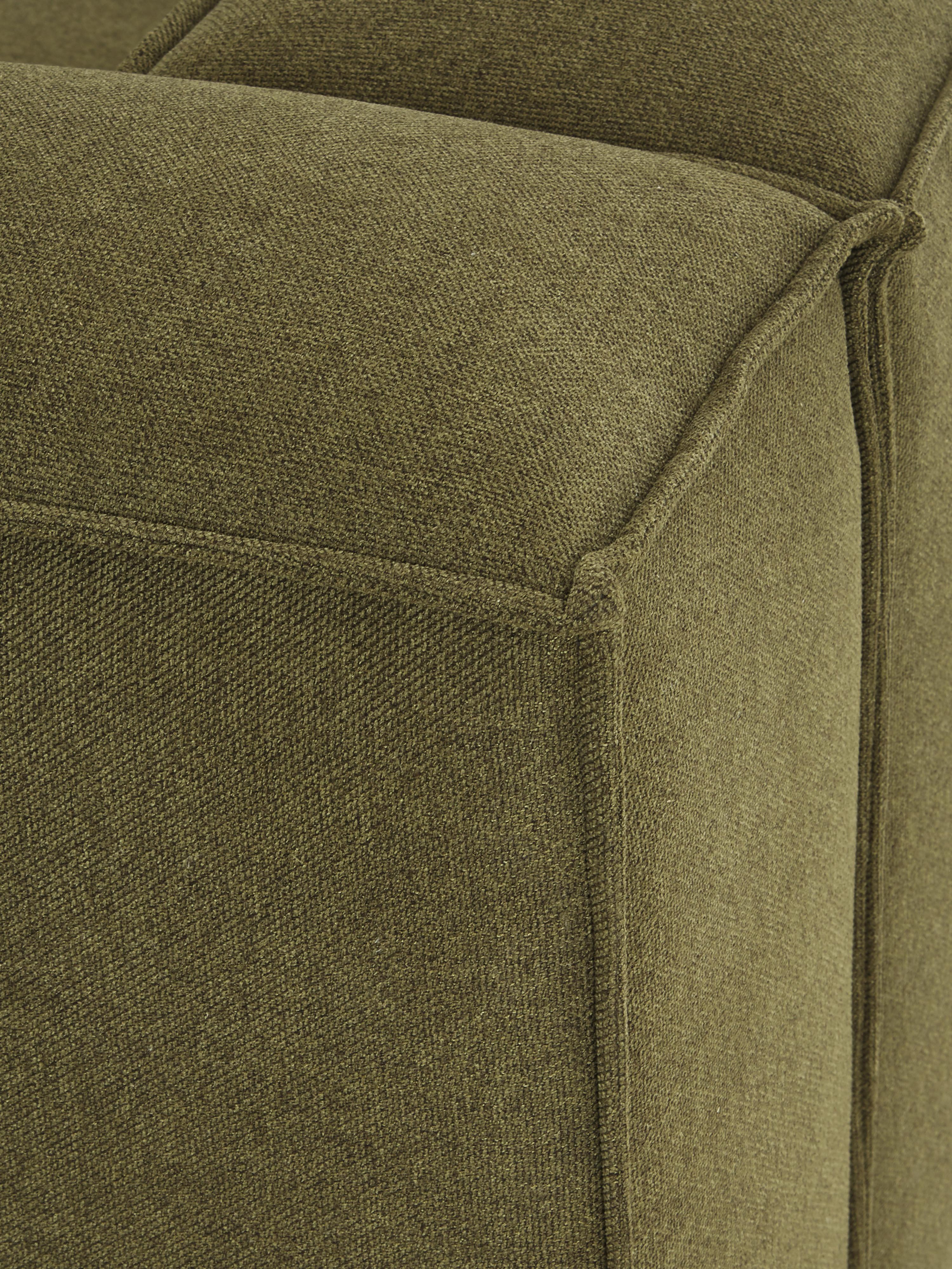 Divano angolare componibile in tessuto verde Lennon, Rivestimento: poliestere 35.000 cicli d, Struttura: pino massiccio, compensat, Piedini: materiale sintetico, Tessuto verde, Larg. 238 x Prof. 180 cm