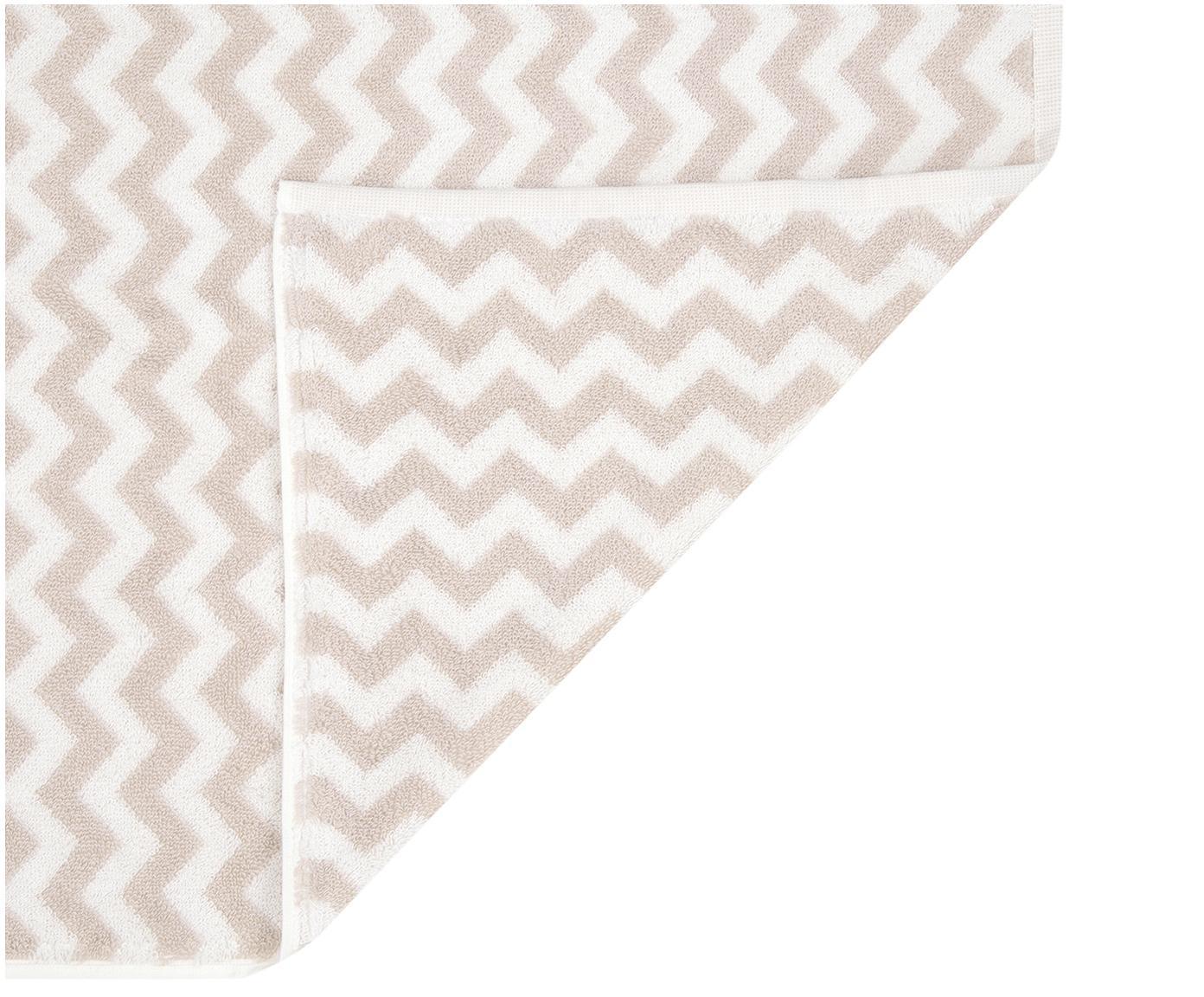 Handtuch-Set Liv mit Zickzack-Muster, 3-tlg., Sandfarben, Cremeweiß, Sondergrößen