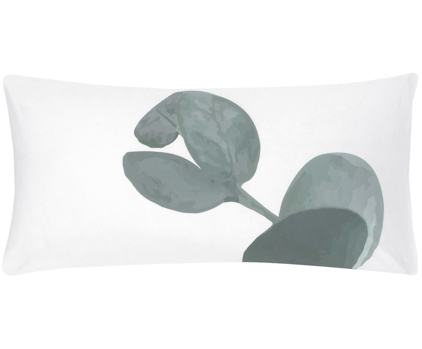 Baumwollperkal-Kissenbezüge Eukalyptus mit Blattmotiv, 2 Stück, Webart: Perkal Fadendichte 180 TC, Grün, Cremeweiß, 40 x 80 cm