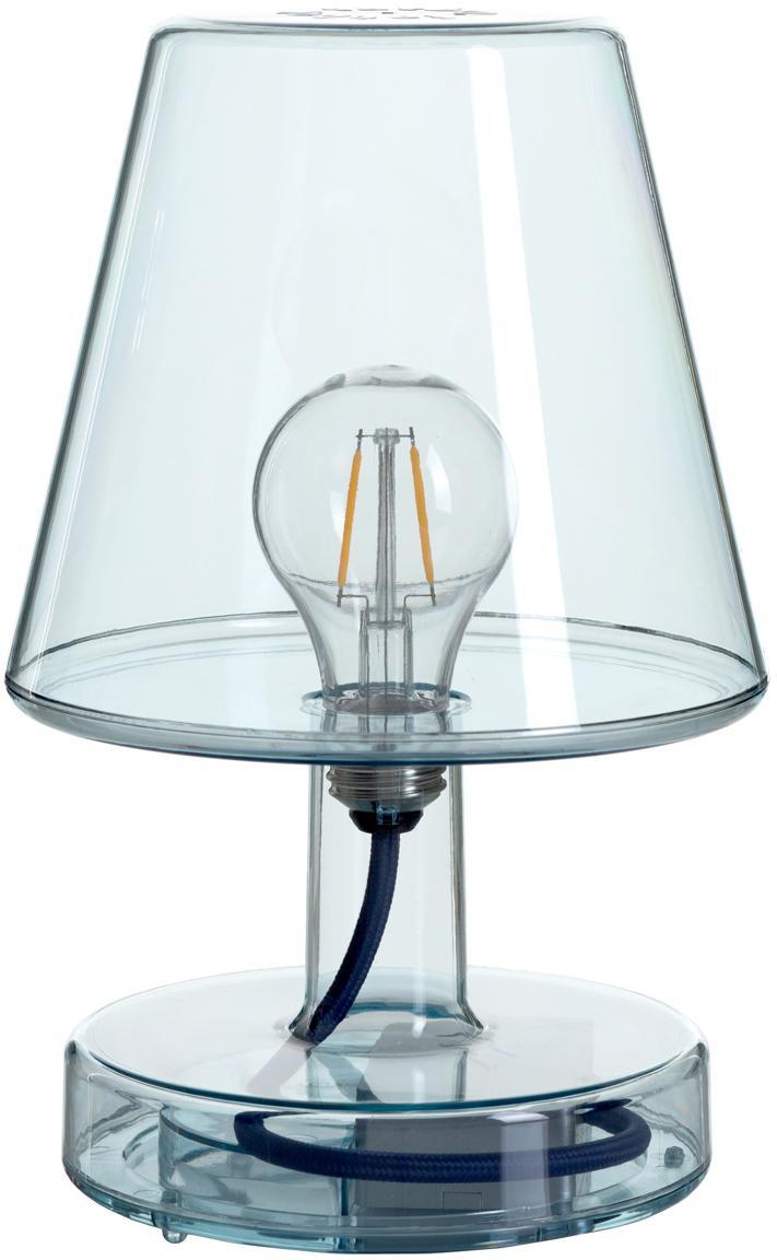 Mobile LED Außentischleuchte Transloetje, Kunststoff, Blau, transparent, Ø 17 x H 27 cm