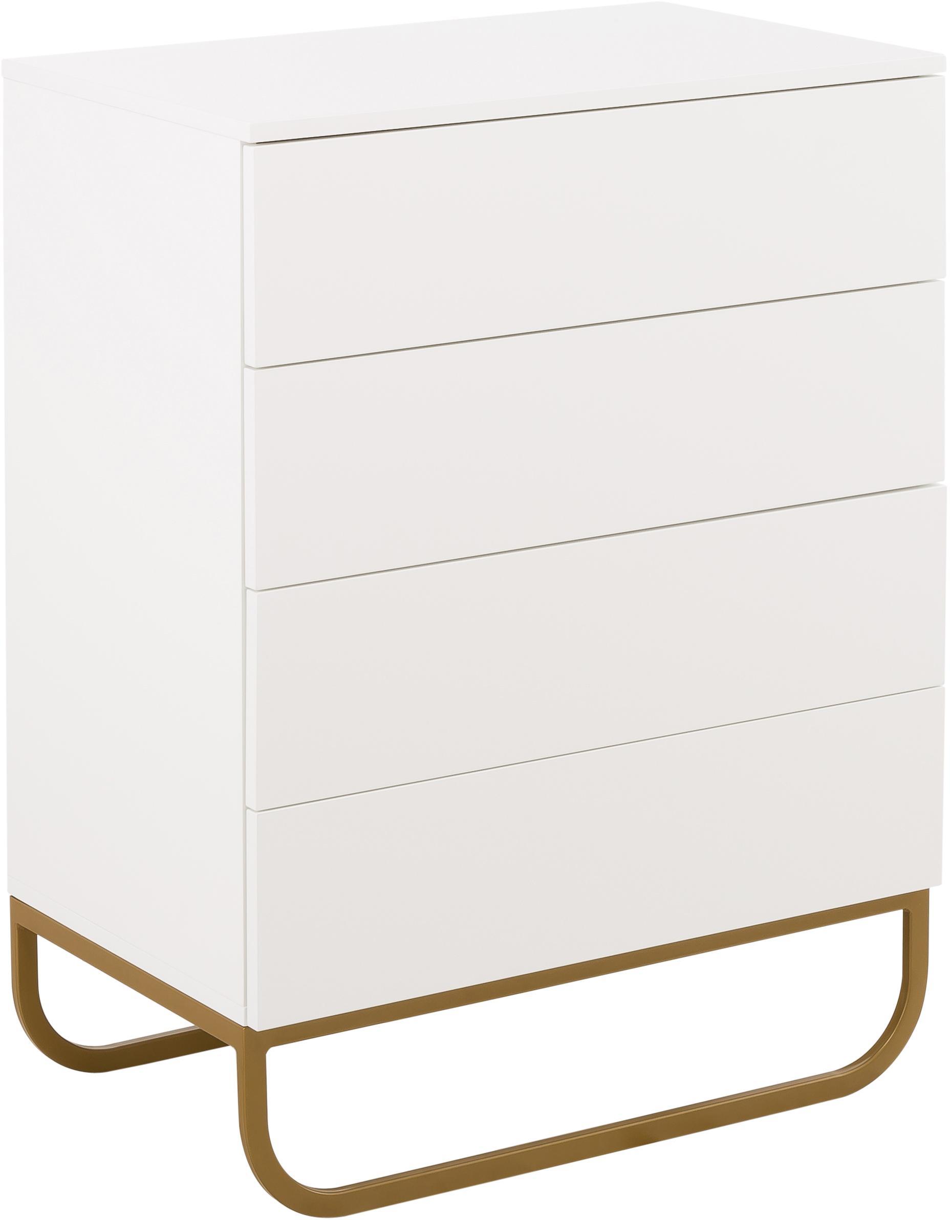 Schubladenkommode Sanford in Weiss, Korpus: Mitteldichte Holzfaserpla, Korpus: Weiss, mattFussgestell: Goldfarben, matt, 80 x 106 cm