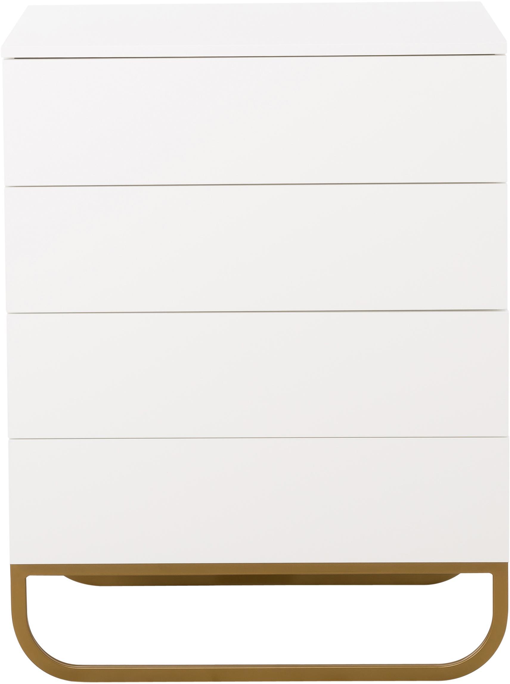 Cassettiera bianca Sanford, Struttura: pannello di fibra a media, Struttura: bianco, opaco Gambe: dorato opaco, Larg. 80 x Alt. 106 cm