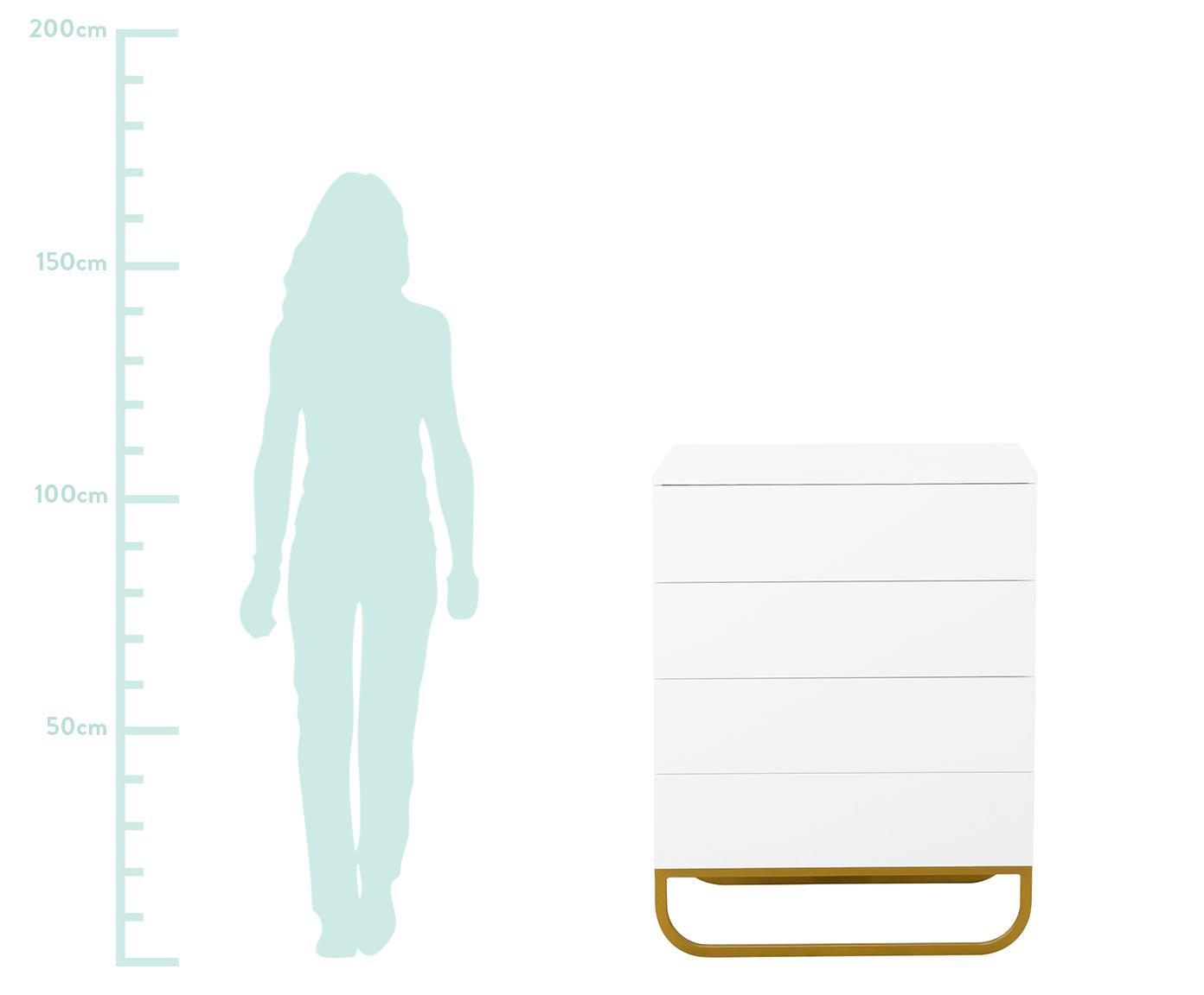 Szafka z szufladami Sanford, Korpus: płyta pilśniowa średniej , Korpus: biały, matowy Podstawa: odcienie złotego, matowy, S 80 x W 106 cm