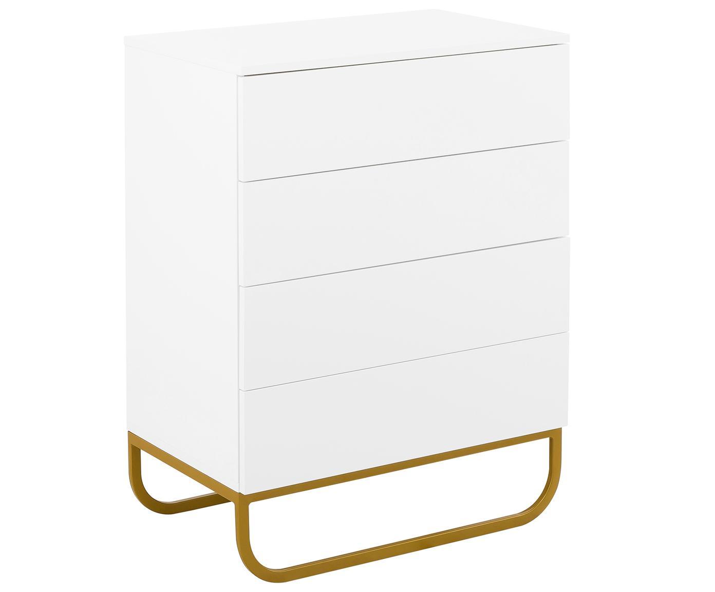 Schubladenkommode Sanford in Weiß, Korpus: Mitteldichte Holzfaserpla, Fußgestell: Metall, pulverbeschichtet, Korpus: Weiß, mattFußgestell: Goldfarben, matt, 80 x 106 cm
