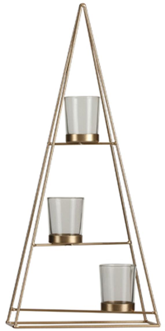Teelicht Trenia, Metall, beschichtet, Messingfarben, 22 x 48 cm