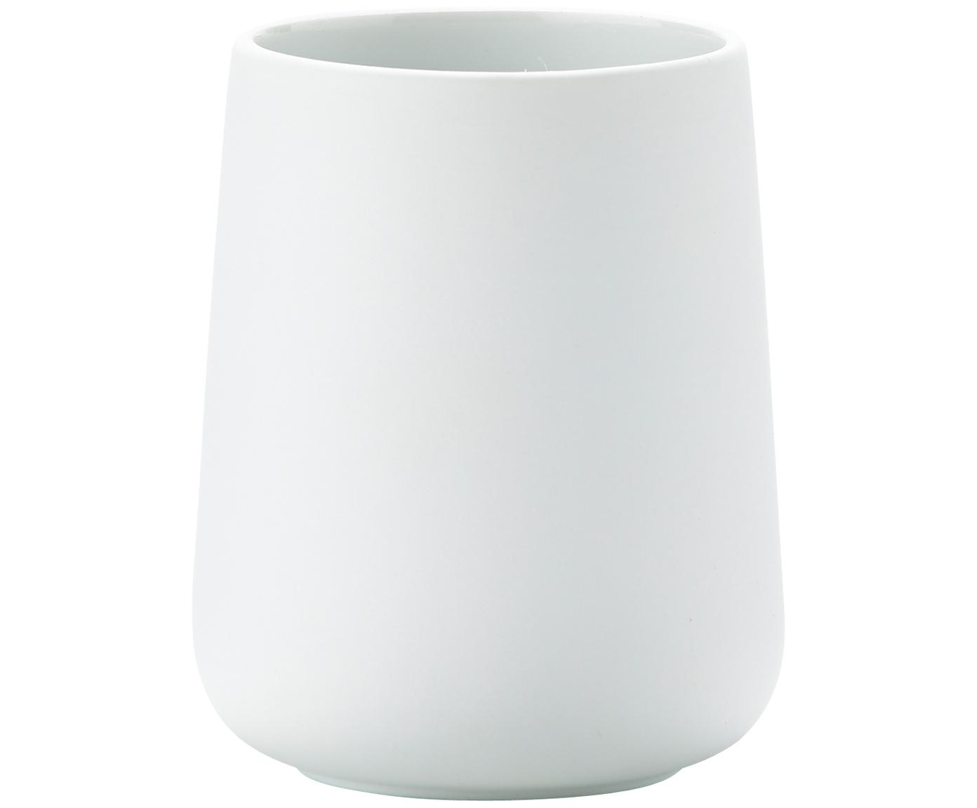 Tandenborstelbeker Clean, Porselein, Mat wit, Ø 8 x H 10 cm