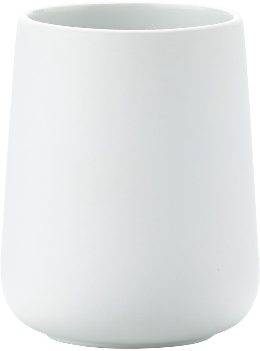 Kubek na szczoteczki Clean, Porcelana, Biały, matowy, Ø 8 x 10 cm