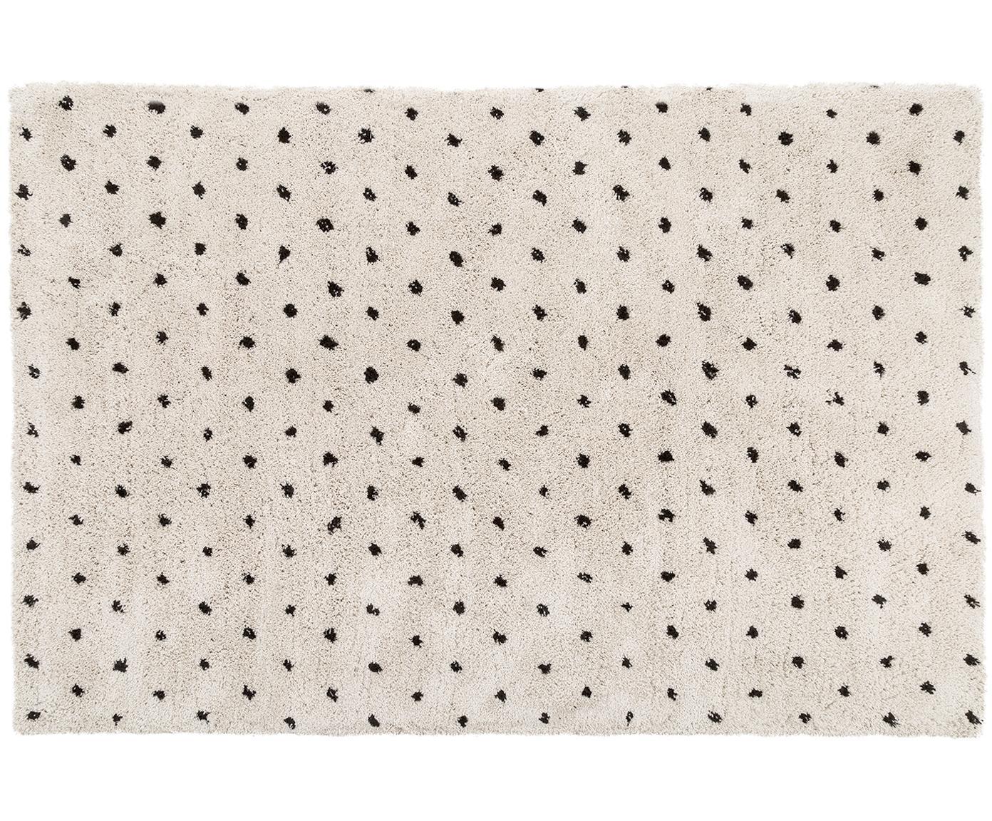 Handgetuft vloerkleed Ayana, Bovenzijde: 100% polyester, Onderzijde: 100% katoen, Beige, zwart, 200 x 300 cm