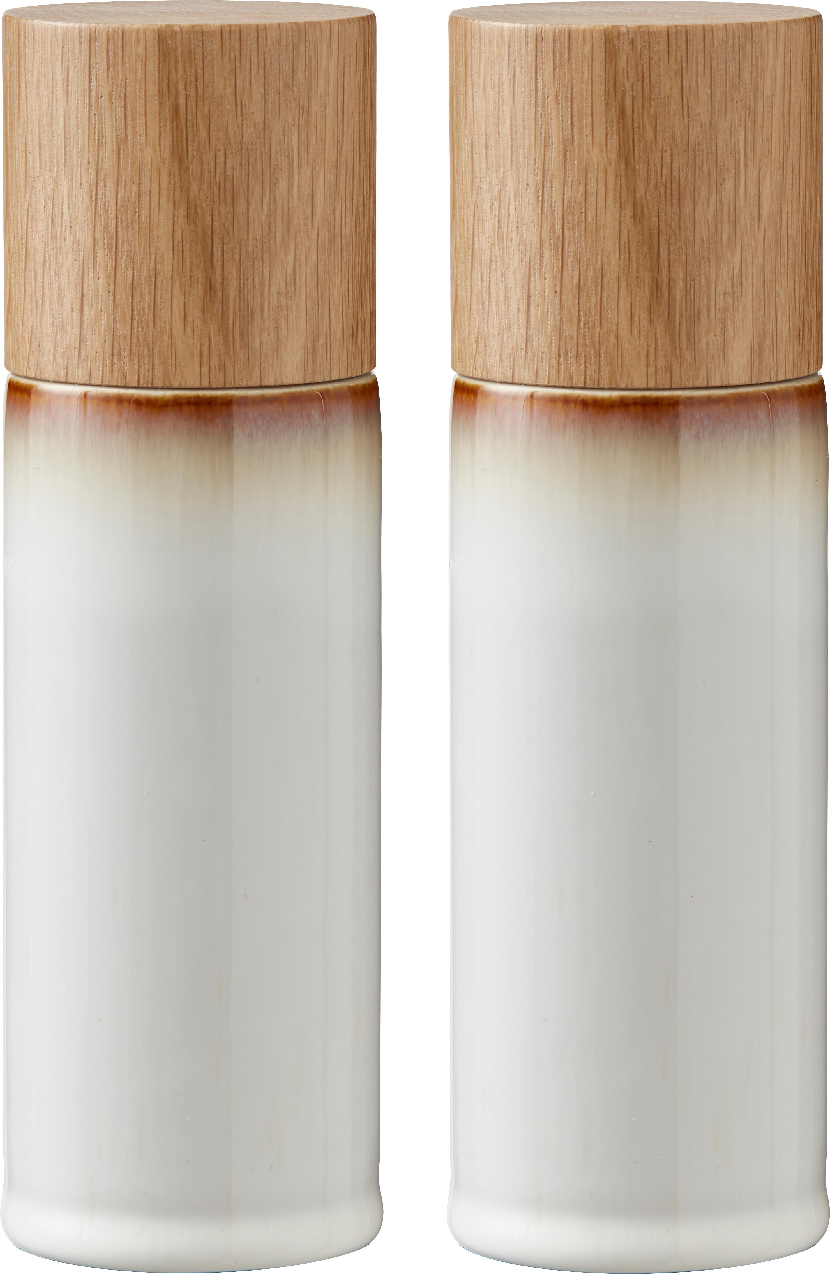Salero y pimientero de gres Bizz, 2pzas., Recipiente: gres, Grinder: cerámica, Tonos verdes, beige, madera, Ø 5 x Al 17 cm