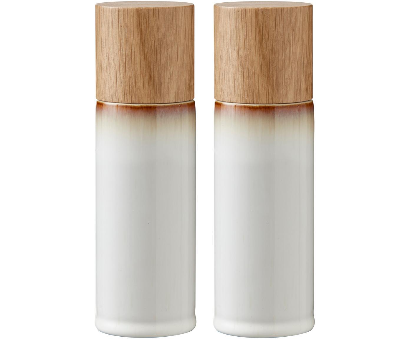 Steingut Salz- und Pfeffermühle Bizz mit Holzdeckel, 2er-Set, Deckel: Eichenholz, Mahlwerk: Keramik, Cremeweiss, Braun, Holz, Ø 5 x H 17 cm