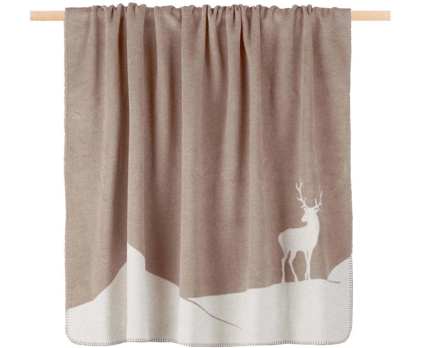 Plaid reversibile in pile con cervo Savona Hirsch, Tessuto: Jacquard, Beige, bianco, Larg. 150 x Lung. 200 cm