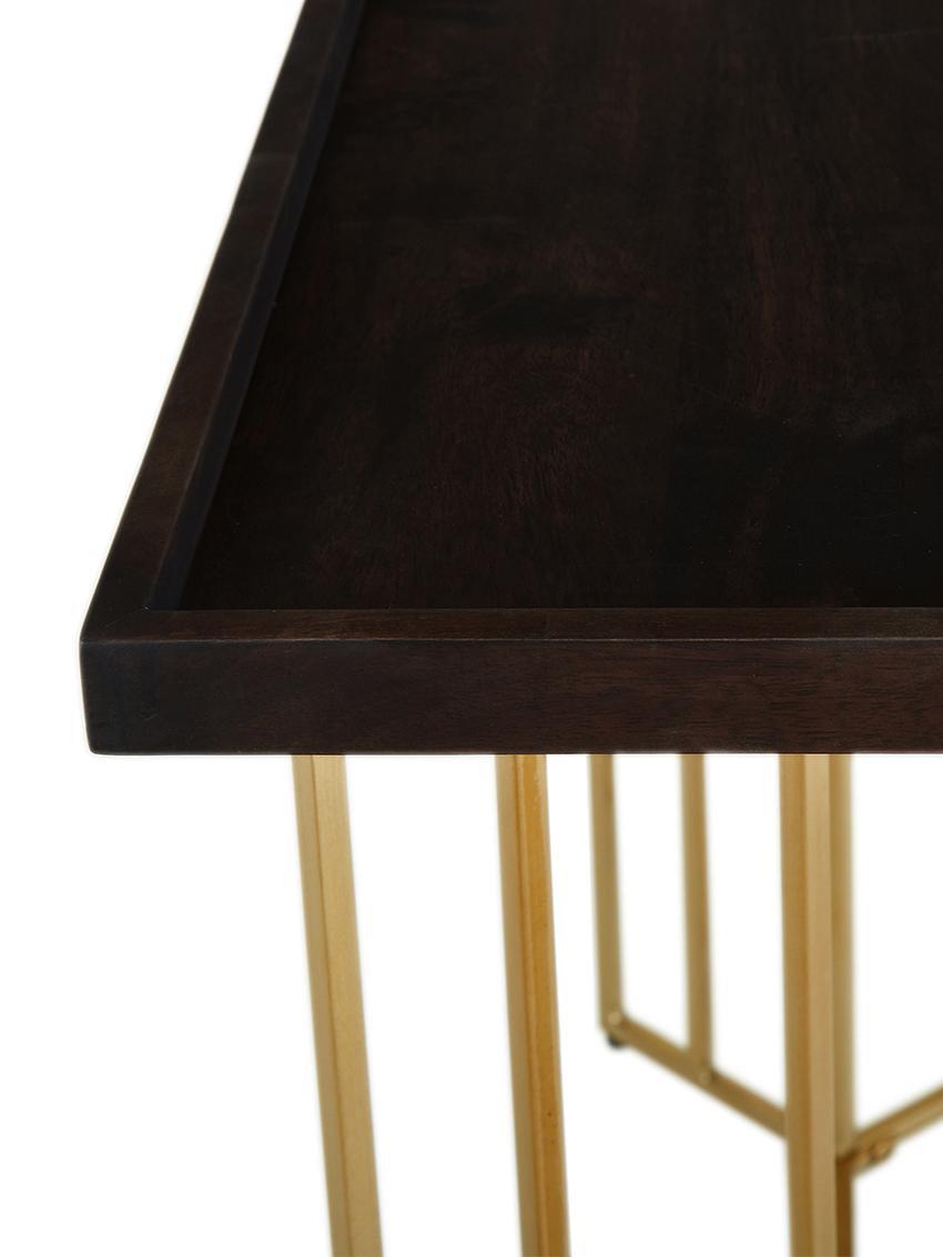 Konsole Luca mit Massivholzplatte, Ablagefläche: Massives Mangoholz, Gestell: Metall, beschichtet, Dunkelbraun, 100 x 80 cm