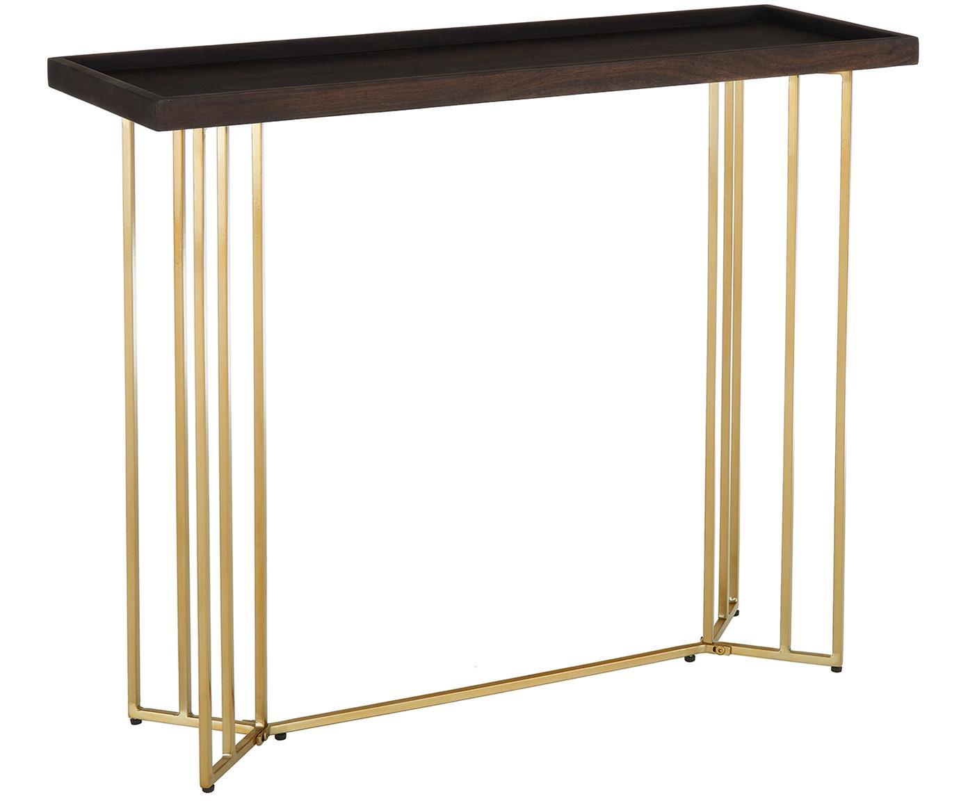 Consola de madera maciza Luca, Tablero: madera de mango maciza, Estructura: metal recubierto, Marrón oscuro, An 100 x F 35 cm