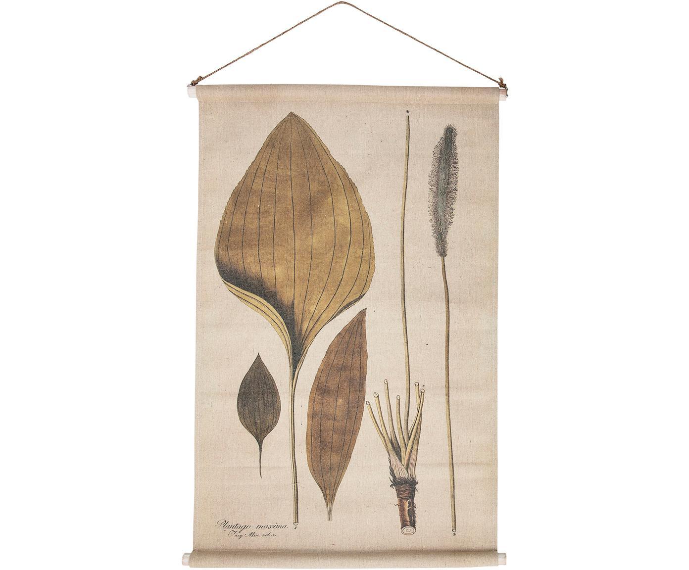 Dekoracja ścienna z lnu Plantago, Len, Wielobarwny, S 60 x W 90 cm