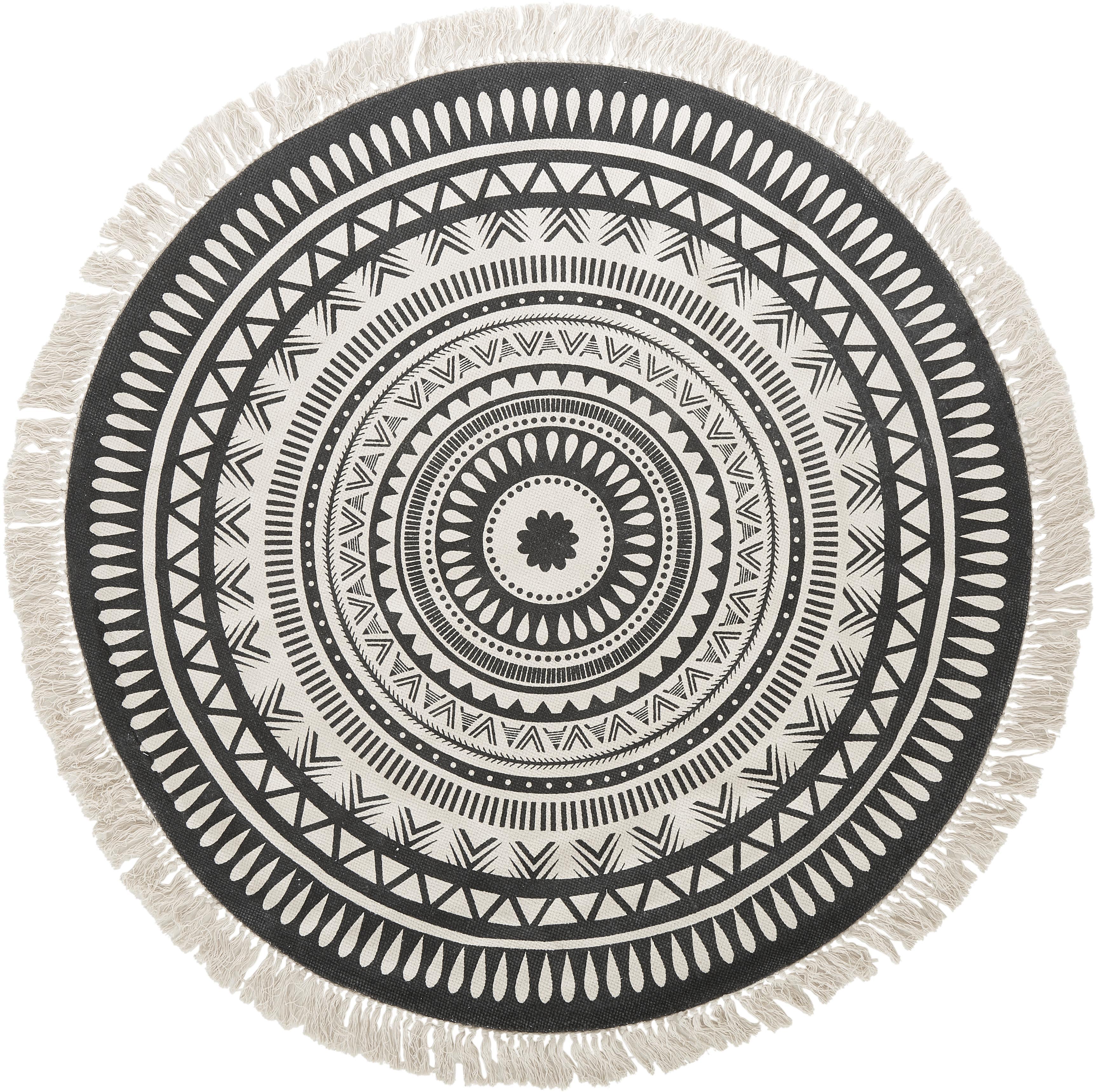 Okrągły  dywan z frędzlami Benji, Czarny, beżowy, Ø 150 cm (Rozmiar M)