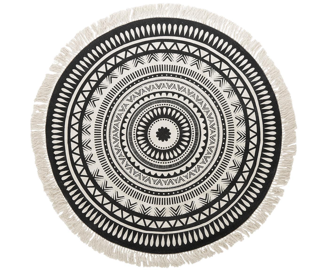 Tappeto rotondo in cotone tessuto a mano Benji, Nero, beige, Ø 150 cm (taglia M)