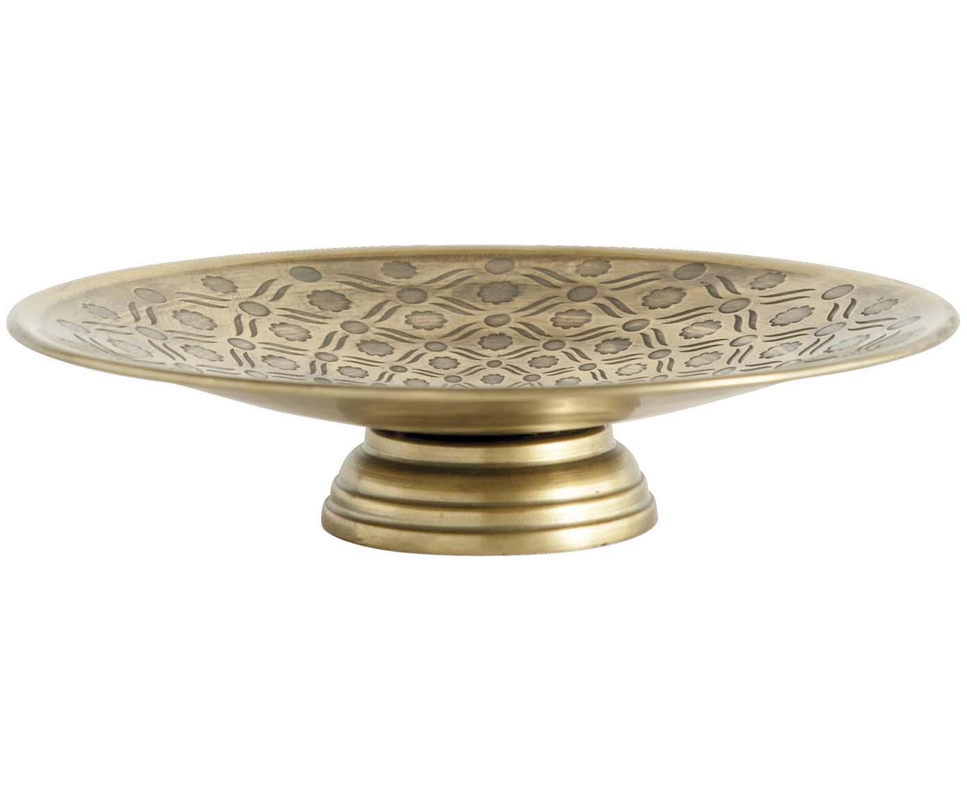 Taartplateau Theo, Gelakt metaal, Messingkleurig, Ø 27 x H 7 cm