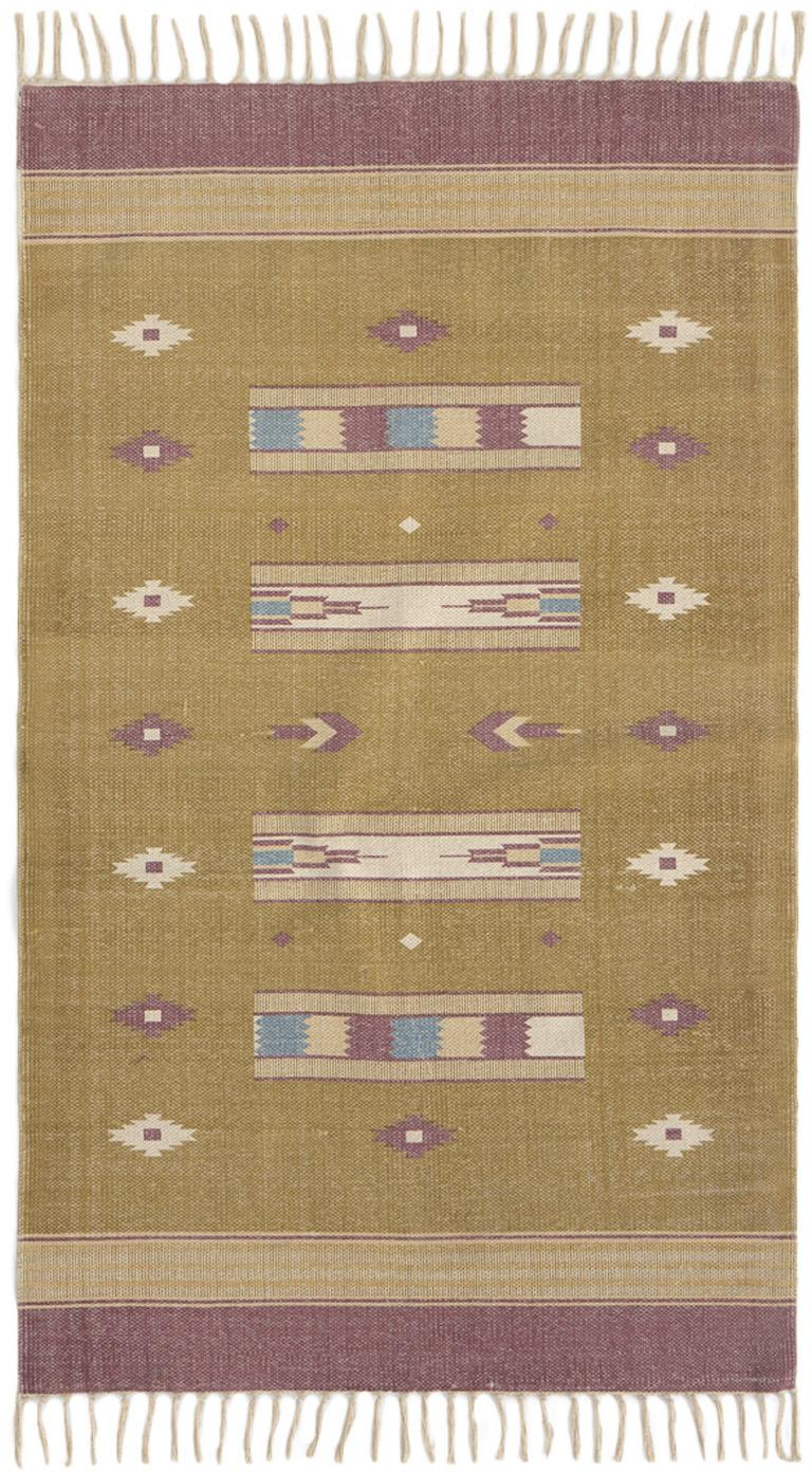 Tappeto etnico Kamel, Cotone, Giallo senape, beige, lilla, blu, Larg. 150 x Lung. 200 cm