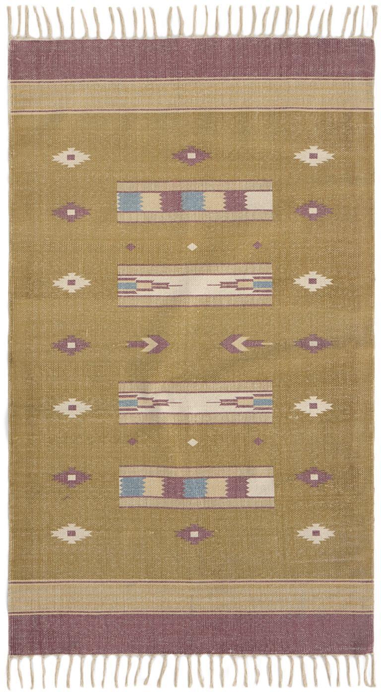 Teppich Kamel im Ethno Style, 100% Baumwolle, Senfgelb, Beige, Lila, Blau, B 150 x L 200 cm (Größe S)