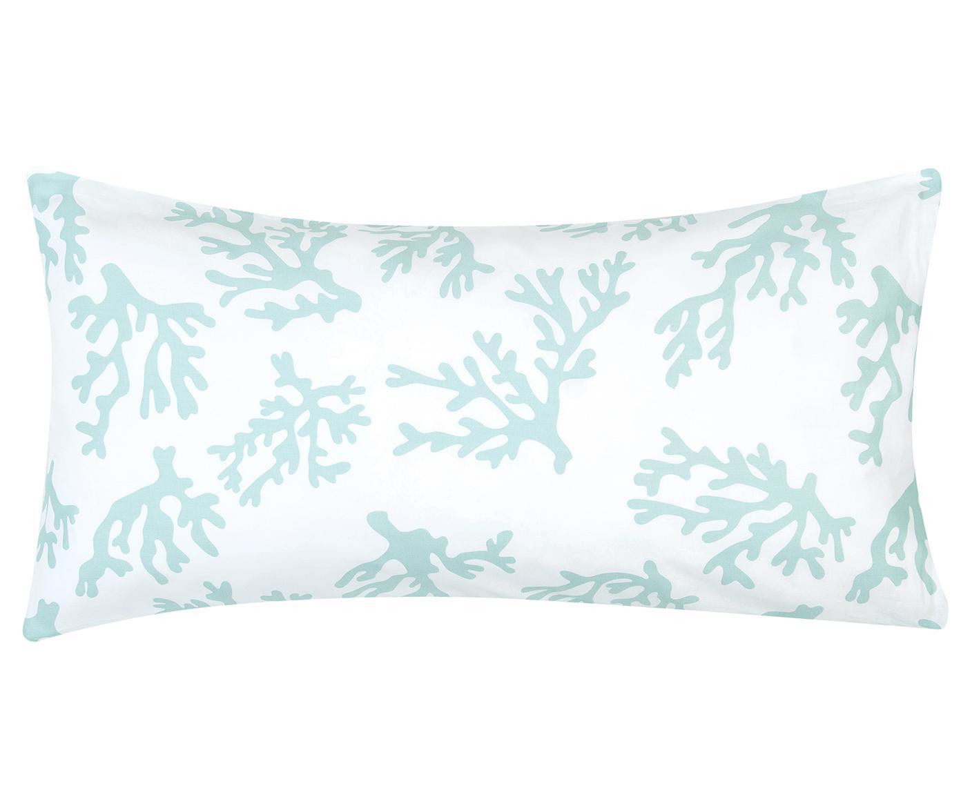 Poszewka na poduszkę z satyny bawełnianej Cora, 2 szt., Turkusowy, S 40 x D 80 cm