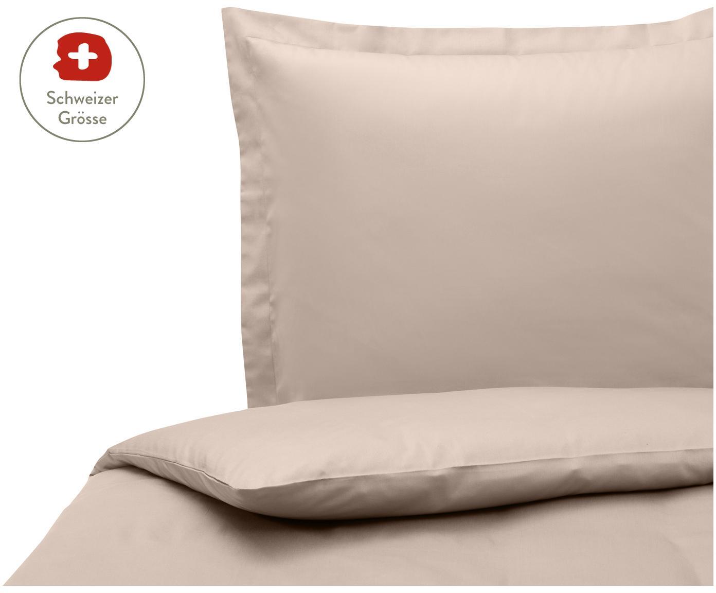 Baumwollsatin-Bettdeckenbezug Premium in Taupe mit Stehsaum, Webart: Satin, leicht glänzend, Taupe, 160 x 210 cm