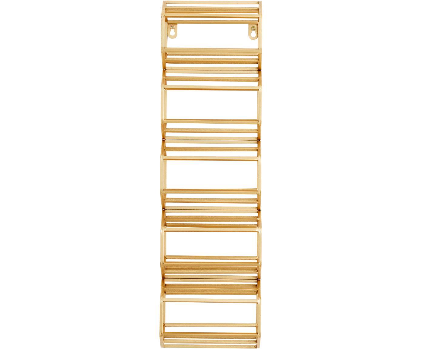 Wandwijnrek Iron, Gelakt metaal, Goudkleurig, 16 x 51 cm