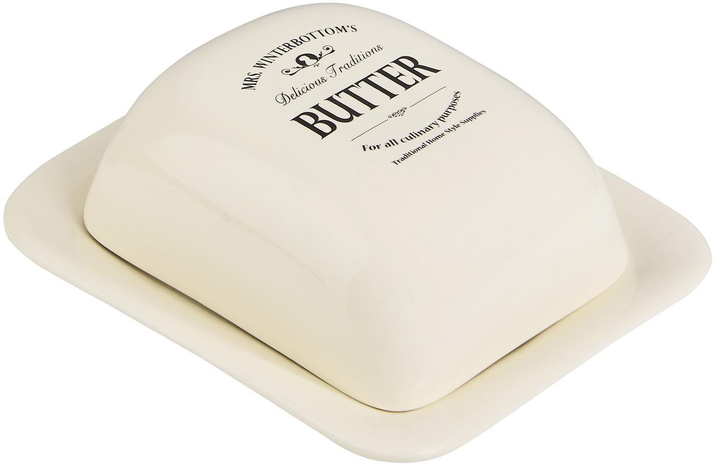 Butterdose Mrs Winterbottoms, Steingut, Creme, Schwarz, 19 x 8 cm
