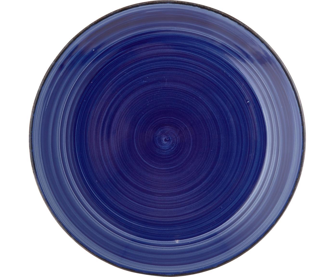 Platos llano Baita, 6uds., Gres, pintadaamano, Azul, Ø 27 cm