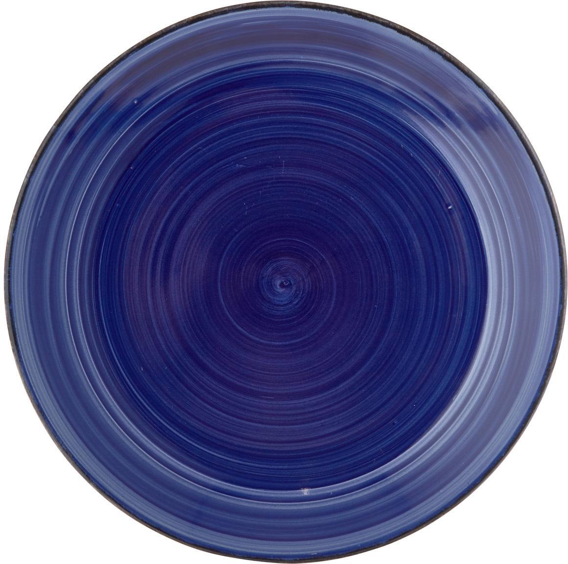 Handbemalte Speiseteller Baita in Blau, 6 Stück, Steingut (Dolomitstein), handbemalt, Blau, Ø 27 cm