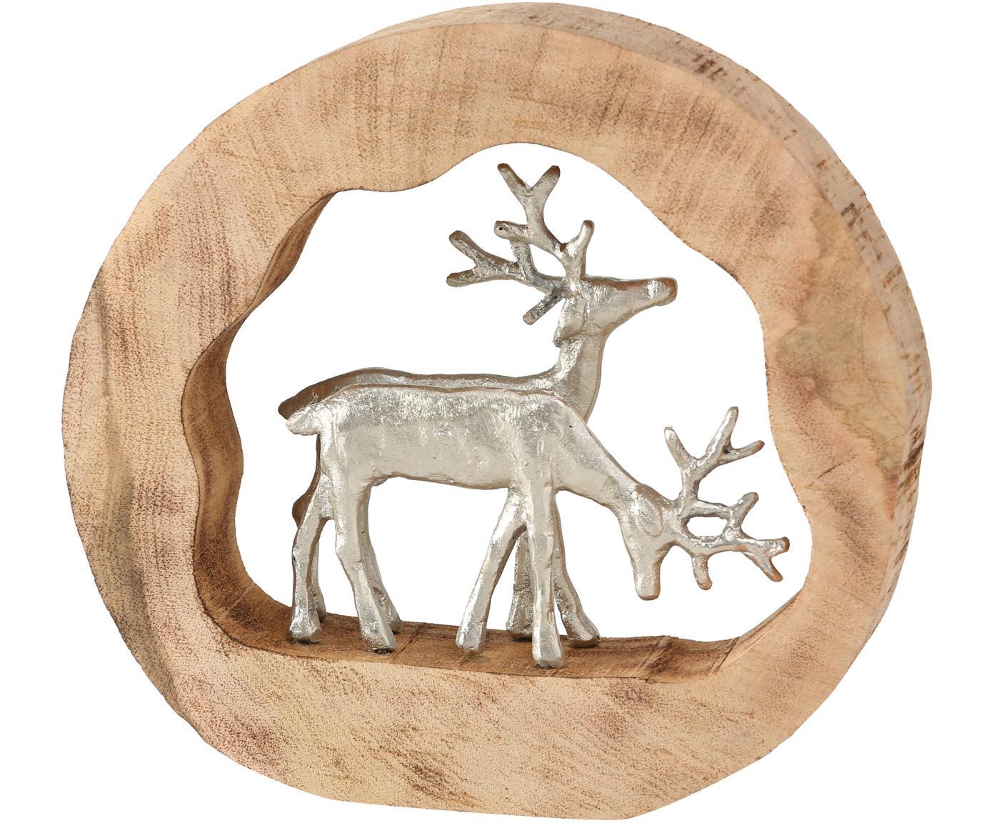 Decoratief object Elmar, Hout, gecoat aluminium, Houtkleurig, zilverkleurig, 27 x 28 cm