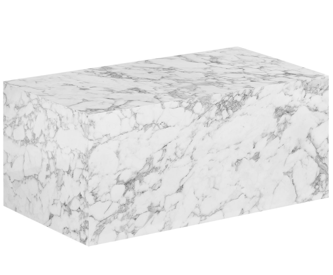 Couchtisch Lesley in Marmoroptik, Mitteldichte Holzfaserplatte (MDF), mit Melaminfolie überzogen, Weiß, marmoriert, B 90 x T 50 cm
