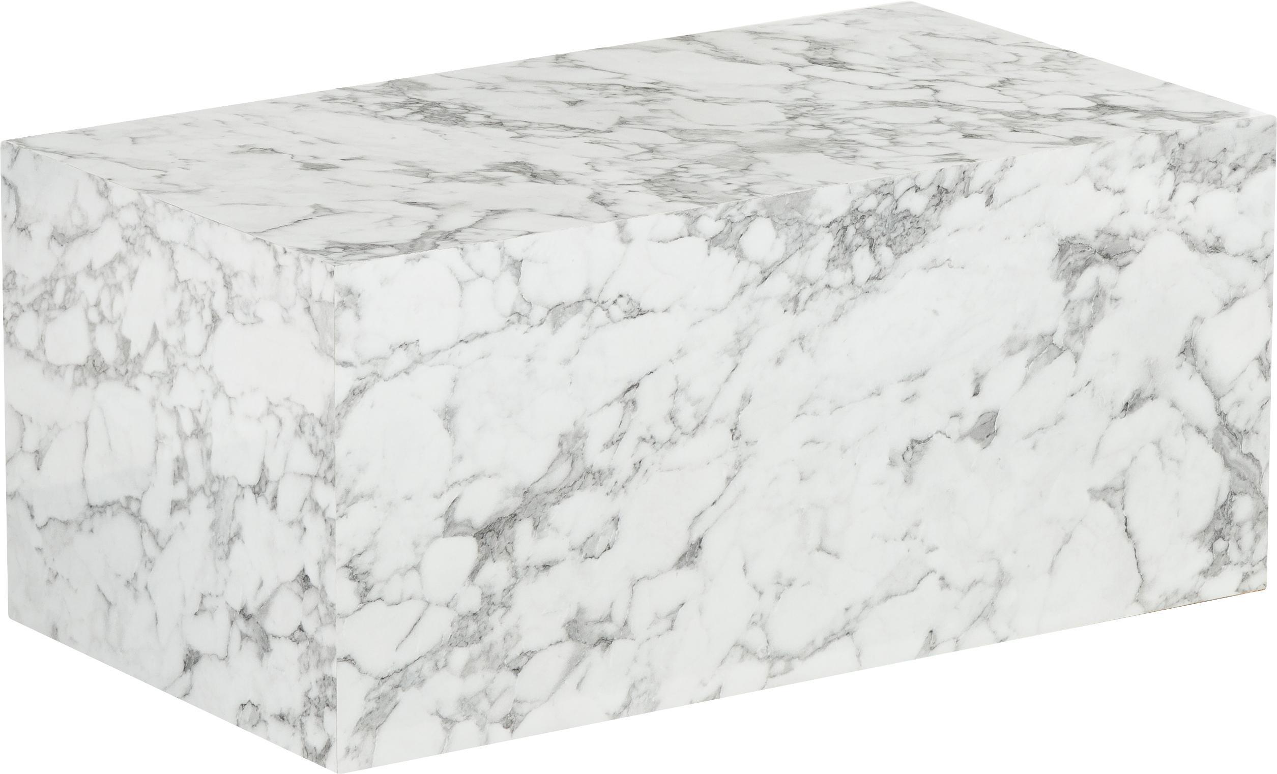 Mesa de centro en aspecto mármol Lesley, Tablero de fibras de densidad media(MDF) recubierto en melanina, Blanco, An 90 x F 50 cm