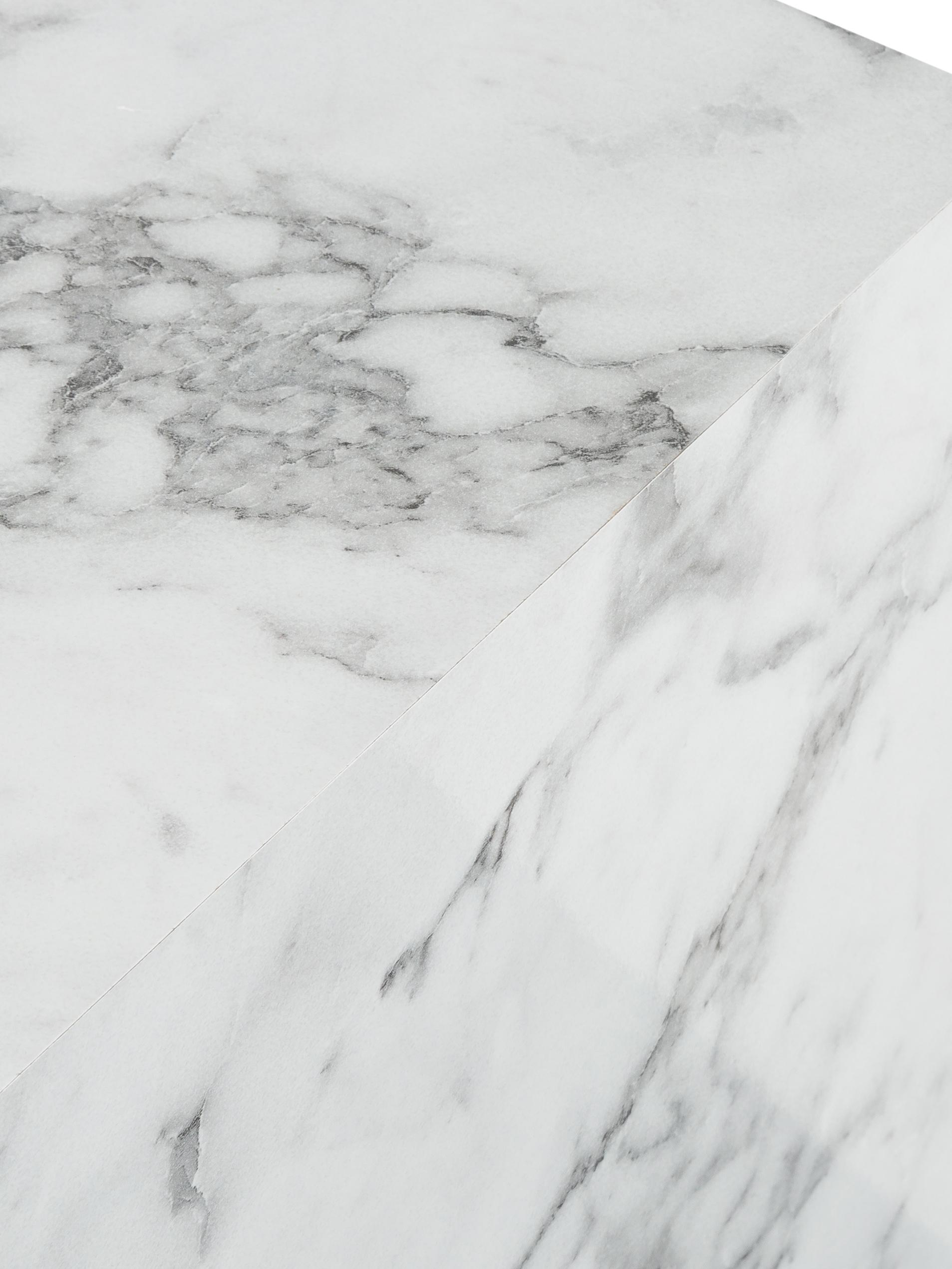 Couchtisch Lesley in Marmor-Optik, Mitteldichte Holzfaserplatte (MDF), mit Melaminfolie überzogen, Weiß, marmoriert, 90 x 40 cm