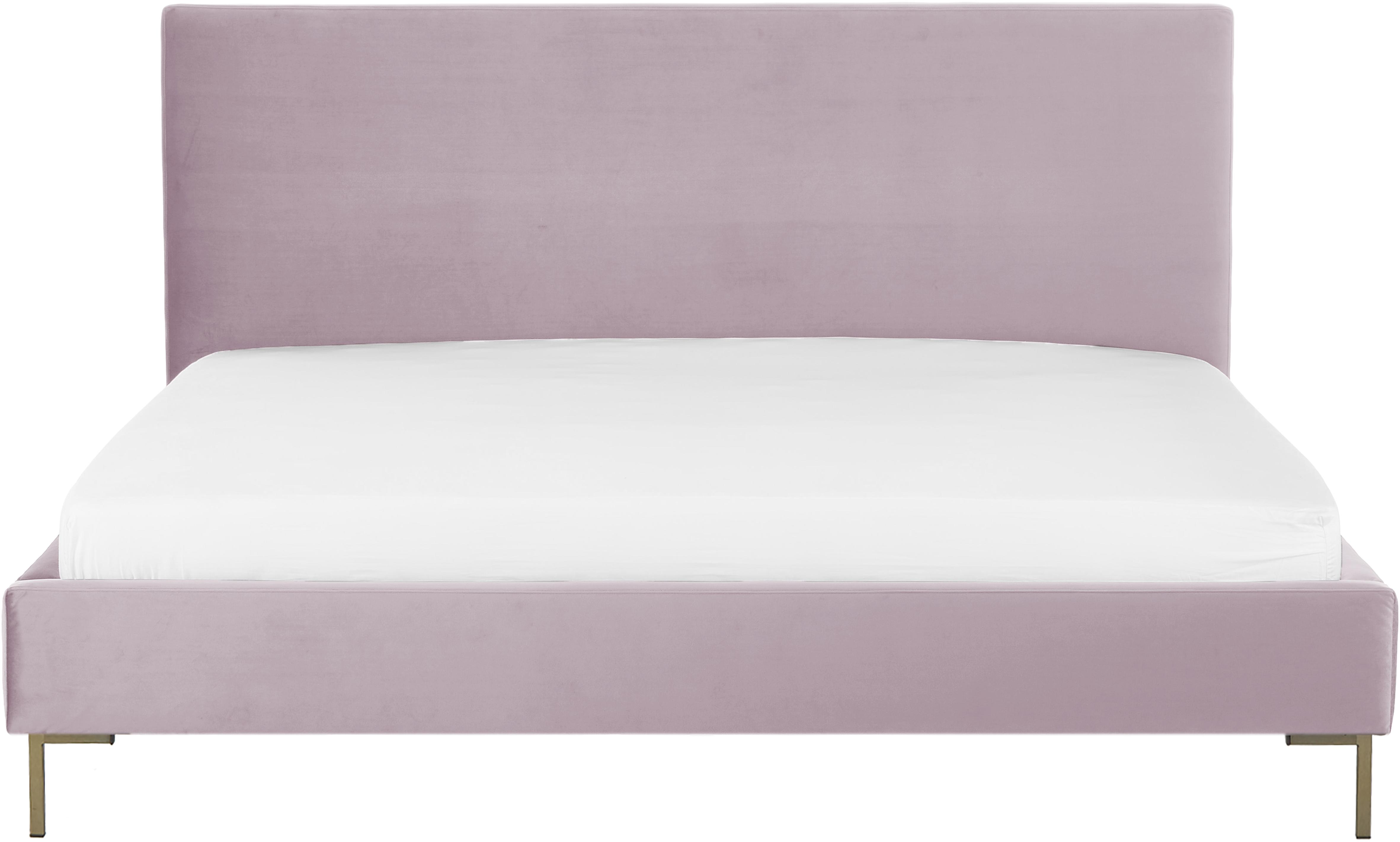Samt-Polsterbett Peace, Korpus: Massives Kiefernholz, Füße: Metall, pulverbeschichtet, Bezug: Polyestersamt 30.000 Sche, Mauve, 180 x 200 cm