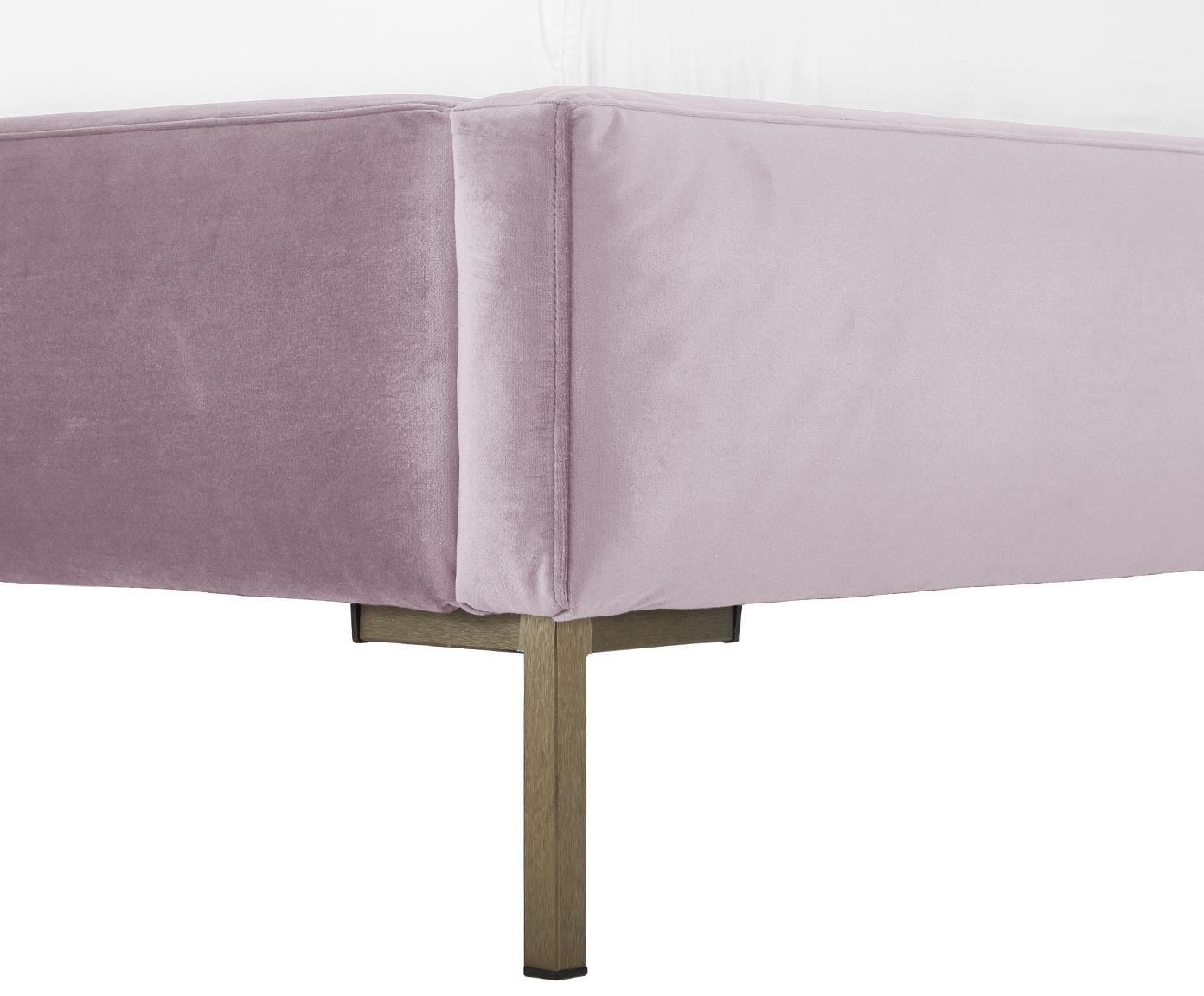 Łóżko tapicerowane z aksamitu Peace, Korpus: lite drewno sosnowe, Nogi: metal malowany proszkowo, Tapicerka: aksamit poliestrowy 3500, Mauve, 180 x 200 cm