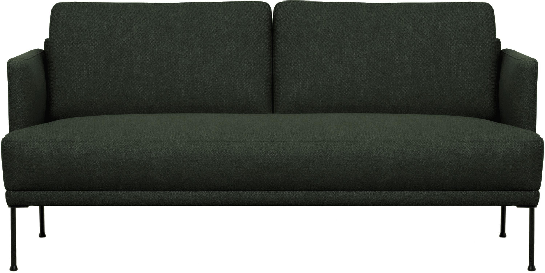 Sofa Fluente (2-Sitzer), Bezug: 100% Polyester Der hochwe, Gestell: Massives Kiefernholz, Füße: Metall, pulverbeschichtet, Webstoff Dunkelgrün, B 166 x T 85 cm