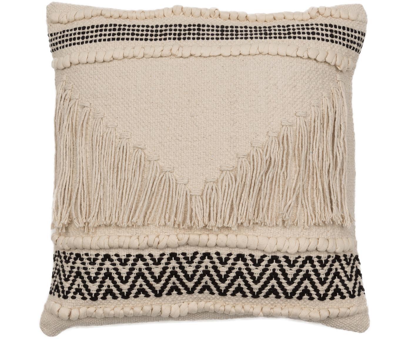 Boho Kissen Berka mit strukturierter Oberfläche, mit Inlett, Bezug: 100% Baumwolle, Creme, Schwarz, 45 x 45 cm