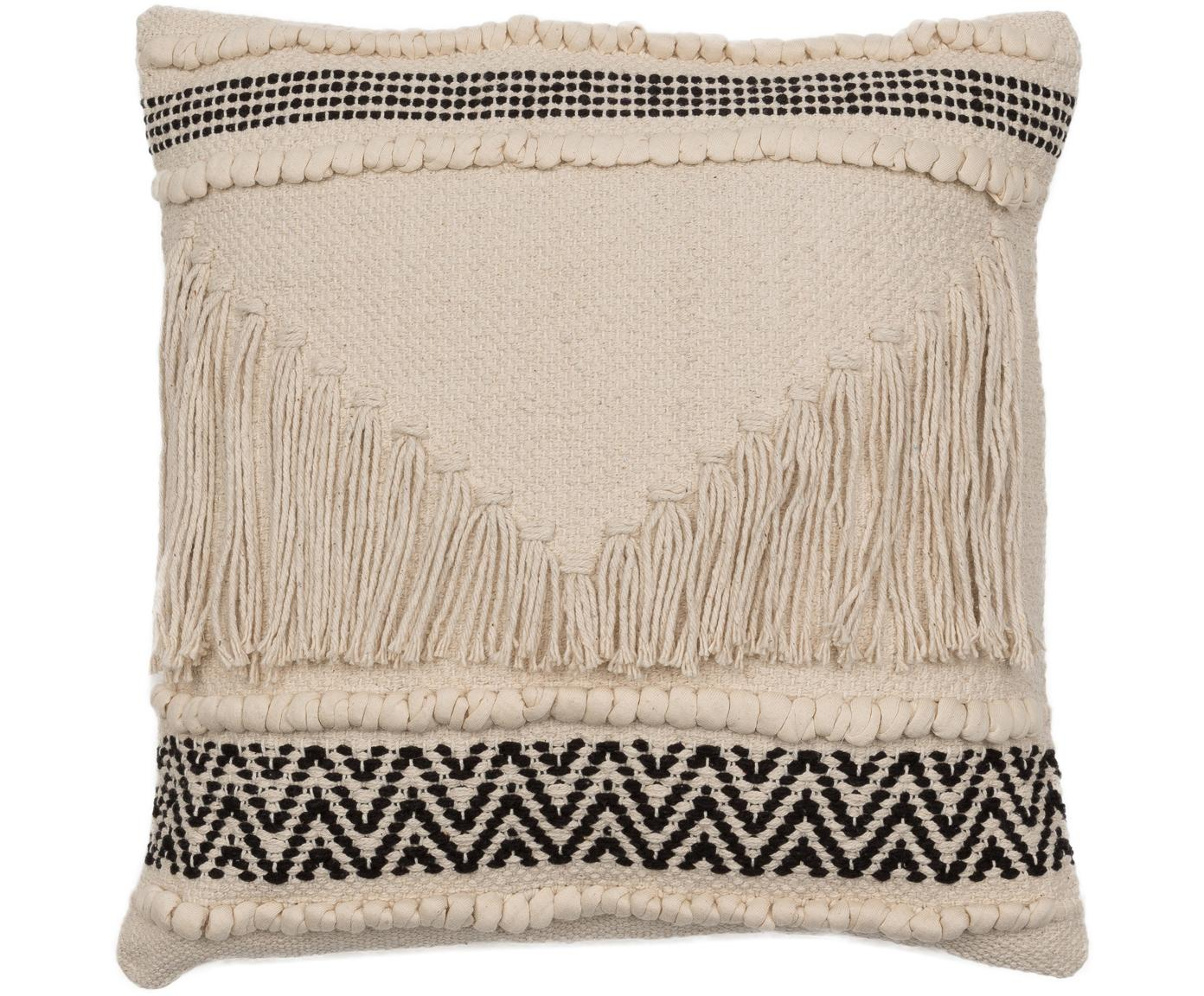 Cojín texturizado Berka, estilo boho, con relleno, Tapizado: 100%algodón, Crema, negro, An 45 x L 45 cm