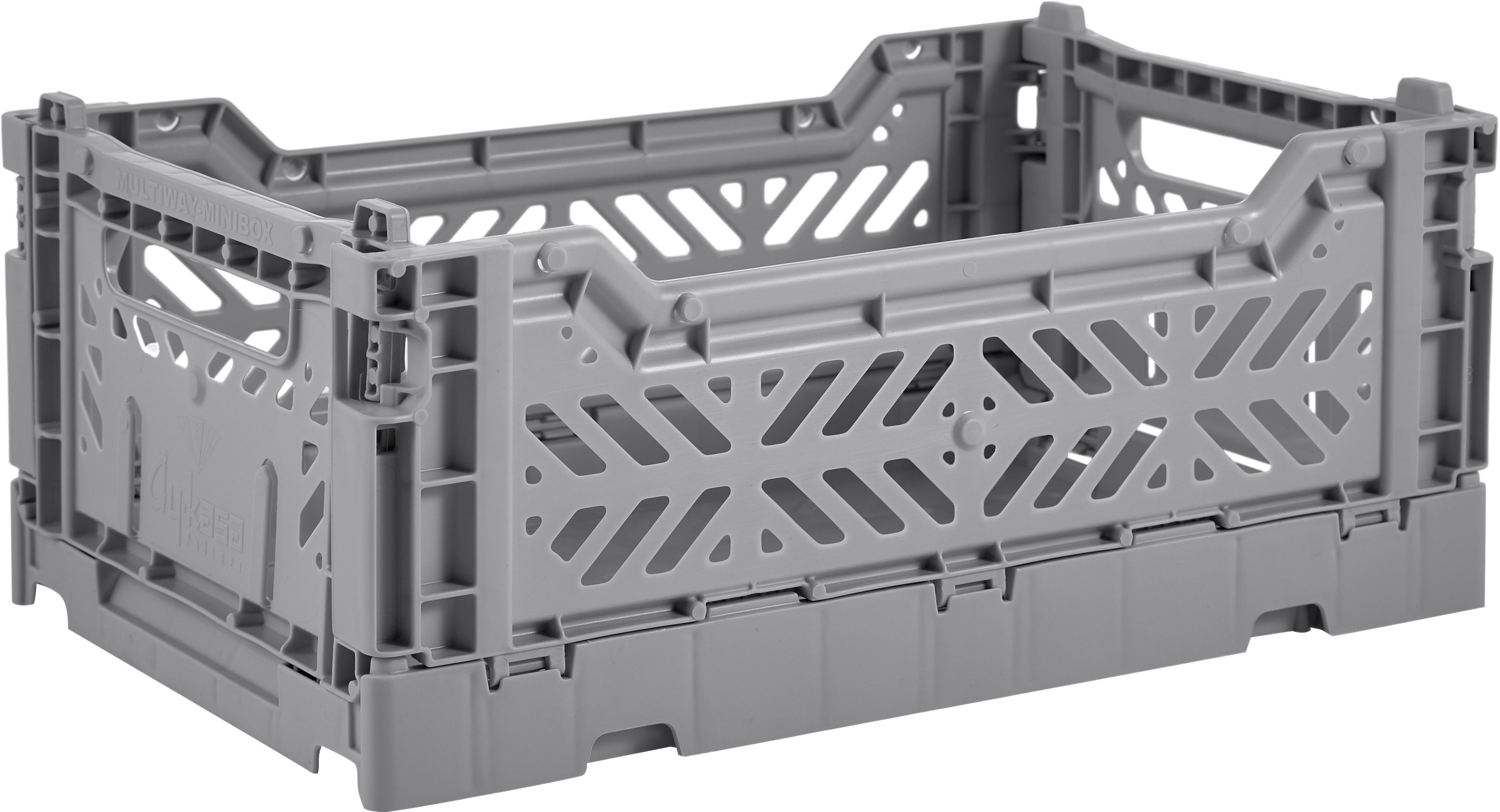 Caja pegable apilable Grey, pequeña, Plástico reciclado, Gris, An 27 x Al 11 cm