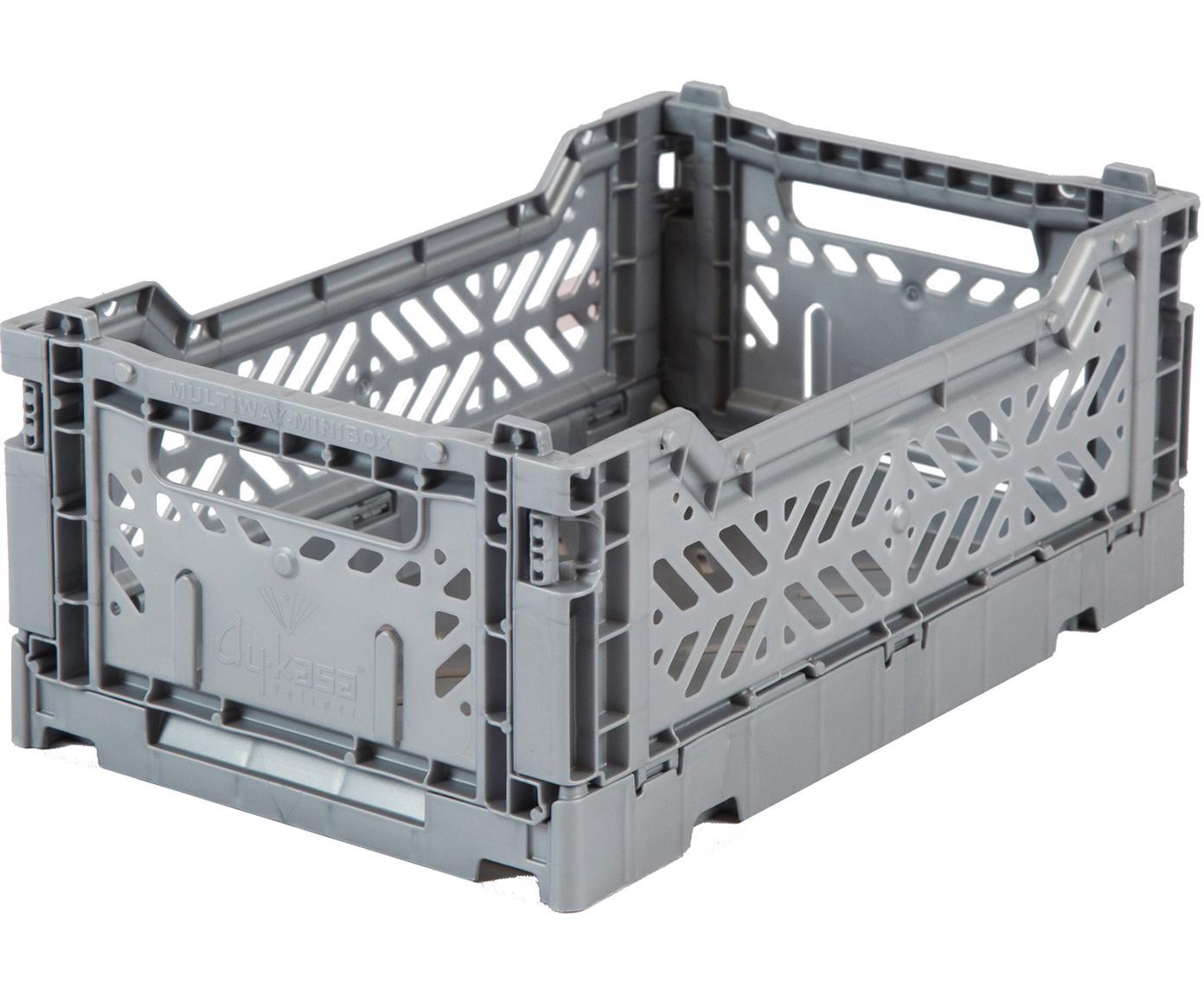 Klappkiste Grey, stapelbar, klein, Recycelter Kunststoff, Grau, 27 x 11 cm