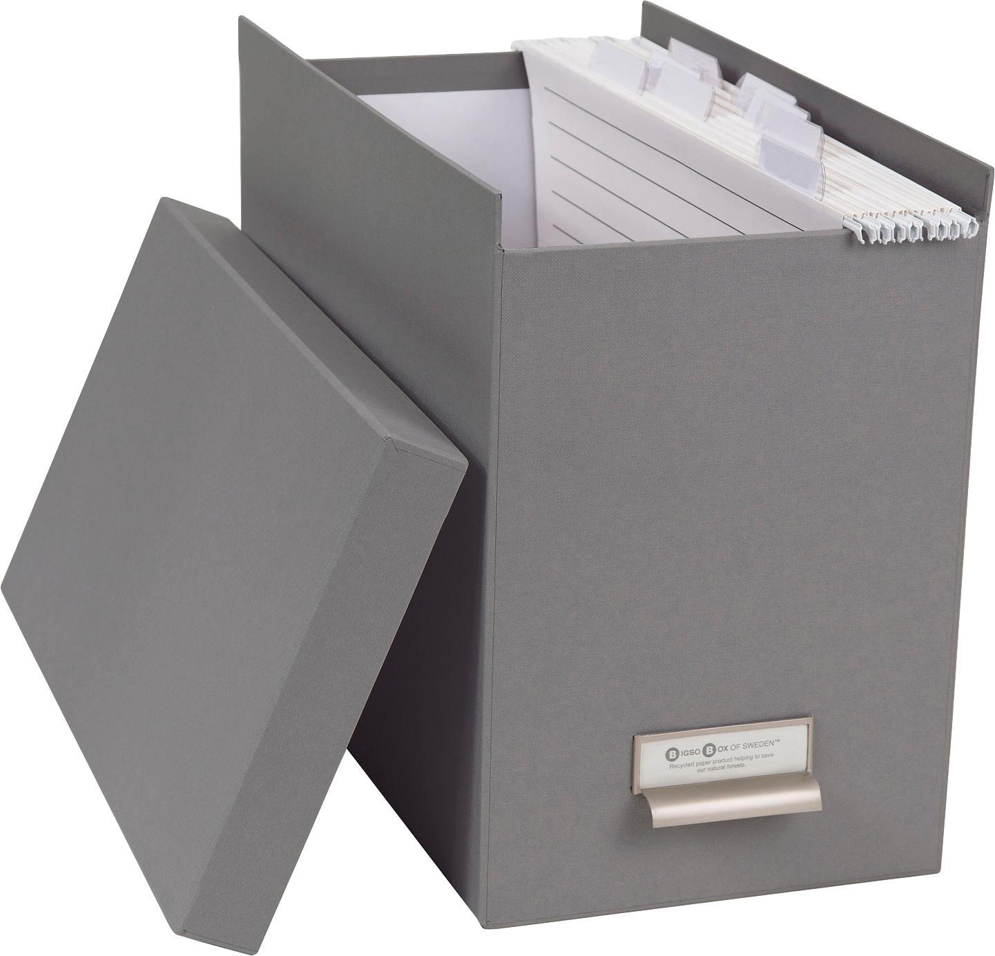 Scatola-archivio per documenti Johan, 9 pz., Organizzatore esterno: grigio chiaro Organizzatore interno: bianco, L 19 x A 27 cm