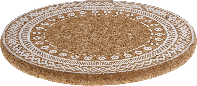 Panonderzetters Oasis, 2 stuks, Kurk, Wit, kurkkleurig, Ø 20 x H 2 cm