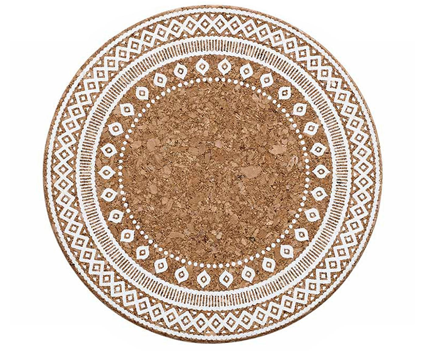 Gemusterte Kork-Topfuntersetzer Oasis, 2 Stück, Kork, Weiß, Kork, Ø 20 x H 2 cm